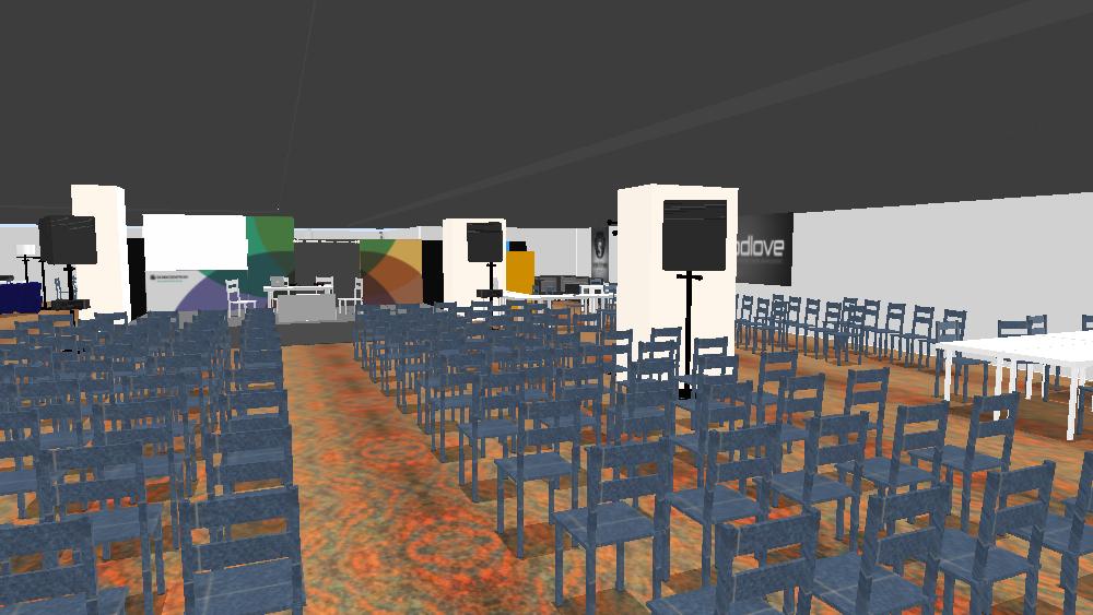 Blick zur Bühne des Sendezentrums auf dem 33c3 (Quelle: nitramred)